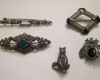 5 Asorted Vintage Sterling Marcasite art deco nouveau