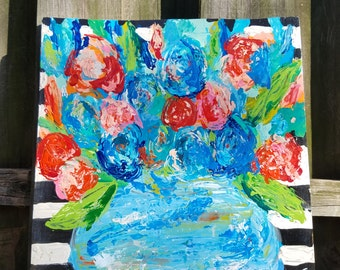 01 - Blue & Peach Flowers with Stripes (16.5x16x1)