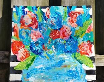 01 - Blue & Peach Flowers with Stripes (16.5x16x1)