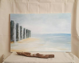 Large Canvas Art Landscape Painting of Calm Water, Blue Sky and Highly Textured Coastal Beach Groyne's. An Abstract, Minimal Seaside Artwork