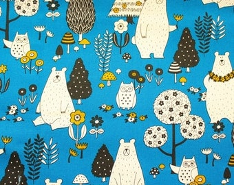 Cotton canvas fabric, Bear Fabric, Owl Fabric, Cotton Canvas, Cotton Duck, Buzoku, Japanes, Vintage Blue, Woodland Animals, Half Metre
