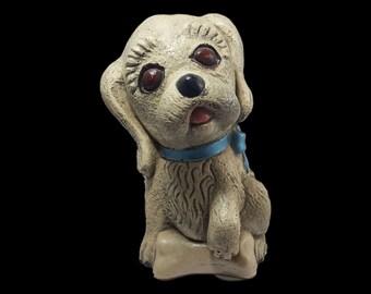 Vintage Chalkware Puppy Statue