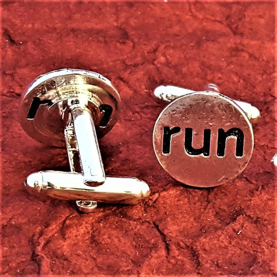 Men's Sports Cufflinks, Fitness Gifts Men, CrossFit Gifts, Gifts for Runners, Weightlifter Bodybuilding Cuff Links, Sports Kettlebell Charms