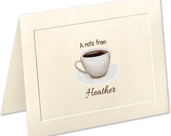 Coffee Lover Stationery, Coffee Cup Note Cards, Embossed Panel Personalized Note Cards, Coffee Stationary, Notecards, Coffee Lover Gift