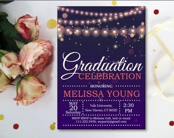 Senior Graduation Announcements, Graduation Celebration Invitation. Purple. Fairy Lights. String Lights. Black White. Printable Digital