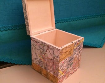 Map Covered Wooden Box - Can be Personalised