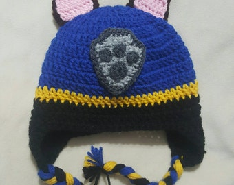 Paw patrol inspired Chase crocheted hat
