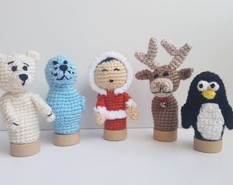 Baby shower gift Stuffed toy baby toddler gift play toy puppets toy finger puppet polar bear Arctic animals seal toy crochet Penguin eskimo