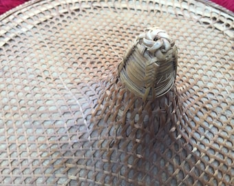 Vintage Asian Sun Hat Thatch/ Rattan and/or Wicker