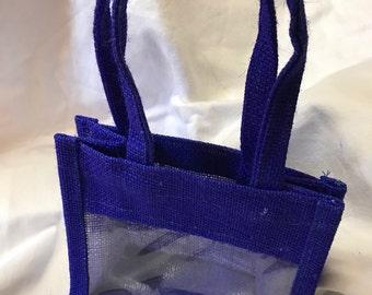 Blue Jute Window Gift Bag, Jam Gift Bag, Natural Gift Bag, Tote Bag, Wedding Gift Bag, Rustic Bag, Burlap Bag, Wedding Favour Bag, Party Bag