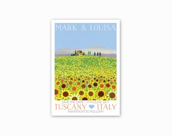 Italian Countryside Save the dates - Single sided, with envelopes. Sunflowers, sunshine. Romantic wedding in Italy, Rustic save the dates.