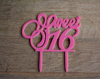 Sweet sixteen cake topper in hot pink