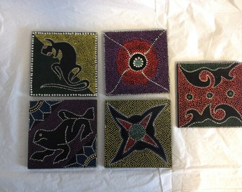 Coasters Dot Painted Set of FIve