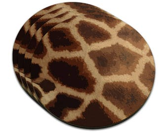 Giraffe Print Impressions Mdf Wood Coaster Set Of 4