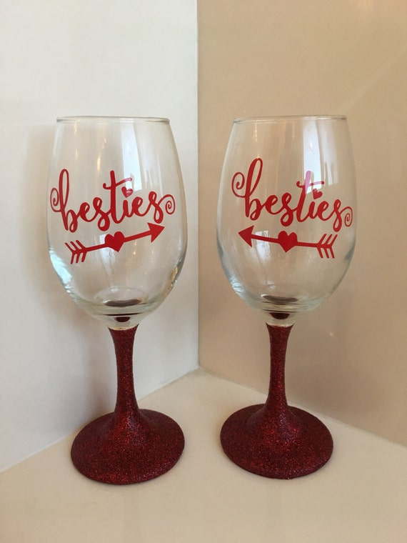 birthday wine glass set, wedding set, gift for her, maid of honor gift ...