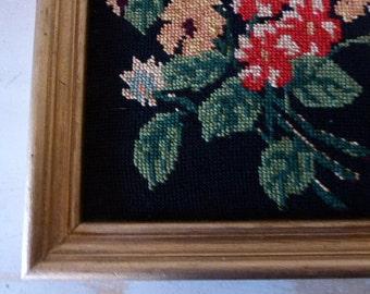 Vintage Framed Floral Tapestry, French Needlework Picture, European Artwork, Hand Stitched 0517038-091