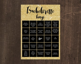 Printable bachelorette party or bridal shower game — Bachelorette Bingo — Glitter