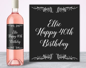 40th Birthday Wine Label, 40th Birthday Gifts for Women, for Men, 40th Birthday Decorations, 40th Birthday Party Decorations Forty and Fab
