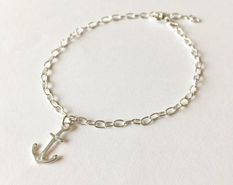Sterling Silver Anchor Bracelet,anchor charm bracelet,beach jewellery,special gift,charm bracelet,anchor jewellery,silver jewellery,bracelet