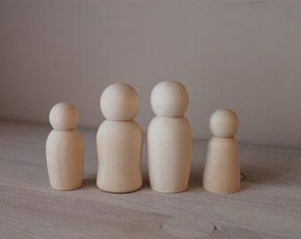 Wooden Peg Dolls / Unfinished Peg Dolls / Family Peg Dolls / montessori materials / montessori toys /  montessori toddler