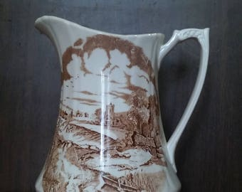 "Alfred Meakin Brown Transferware Pitcher ""Pastoral"""