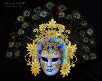 Venice carnival mask with peacock feathers. Masquerade mask for venetian carnivale.