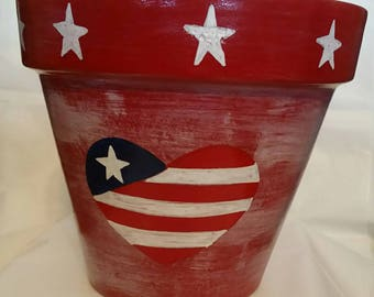 Hand painted clay pot,4th of july flower pot,decorative flower pot,star's and stripes