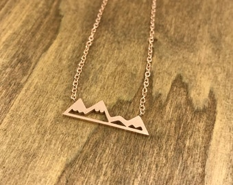 Tiny Mountain Necklace Rose Gold Plated Stainless Steel