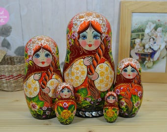 Russian nesting doll, Handmade matryoshka, One of a kind art doll, Wooden stacking dolls, Hand painted babushka in floral design