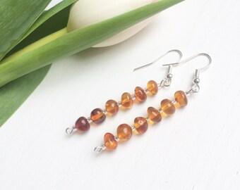 Genuine Amber Earrings, Baltic Amber Earrings, Amber Earrings, Amber Jewelry, Natural Gemstone Earrings, Modern Clip On,  Jewelry Gifts