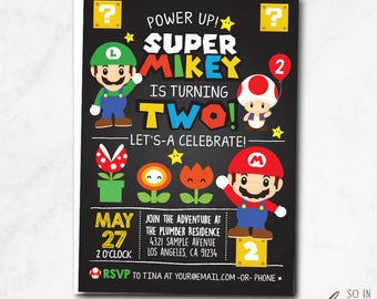 Super Mario Birthday Party Invitation, luigi, toad, cute, cartoon, chalkboard, world, mario brothers, centered, printable, printed