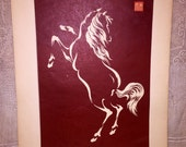 Vintage MCM Mid Century Japanese Chinese Horse Wood Block Print Signed Brown White