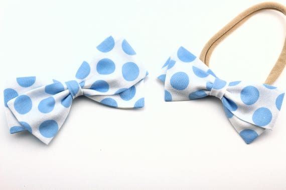 Baby Girl, Toddler, Girls Fabric Bow, Newborn, Hand tied bow- White with light blue dots