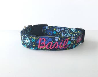 Floral Dog Collar, Embroidered Dog Collar, Personalized Dog Collar, Flower print Dog Collar, Rose Dog Collar, Personalized Collar