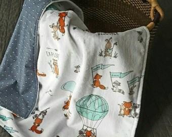 Minky baby blanket, soft blanket, cotton and minky blanket, baby blanket, soft minky blanket, baby or toddler blanket, adventure nursery
