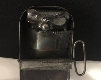 Handmade / sleeping mouse / sardine tin / metal mouse / fun / ornament / collectible mouse / key / recycle / metal