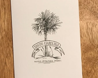 South Carolina Palmetto Note Cards