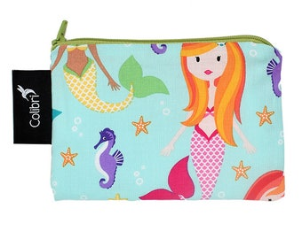 Ready to ship Pocket Wet Bag with zipper and PUL liner great for menstrual cups - Mermaids