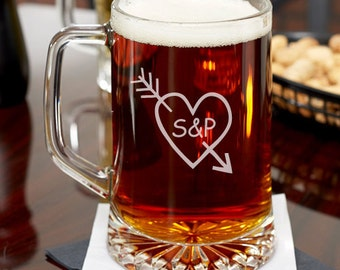 Heart and Arrow Personalized 15 oz Beer Mug - Holiday Gifts -Housewarming Gifts (JM6460764-17-53331)