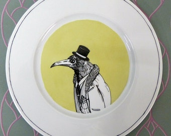 Hand painted porcelain collection plate  - Birds of prey