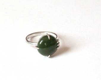 Nephrite Silver Ring