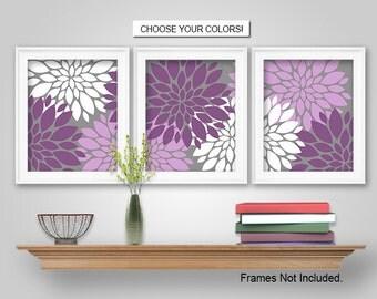 PRINTS or CANVAS or Printable Digital Download - Dahlia Flower Burst Wall Art Decor - Dahlia Flower Burst, Plum Purple, Lavender, Grey