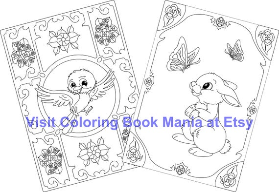 Celebrate SPRING with 4 Note Cards to COLOR - Happy Bird x2 and Rabbit with Butterflies x2 - 4 Cards/envelopes