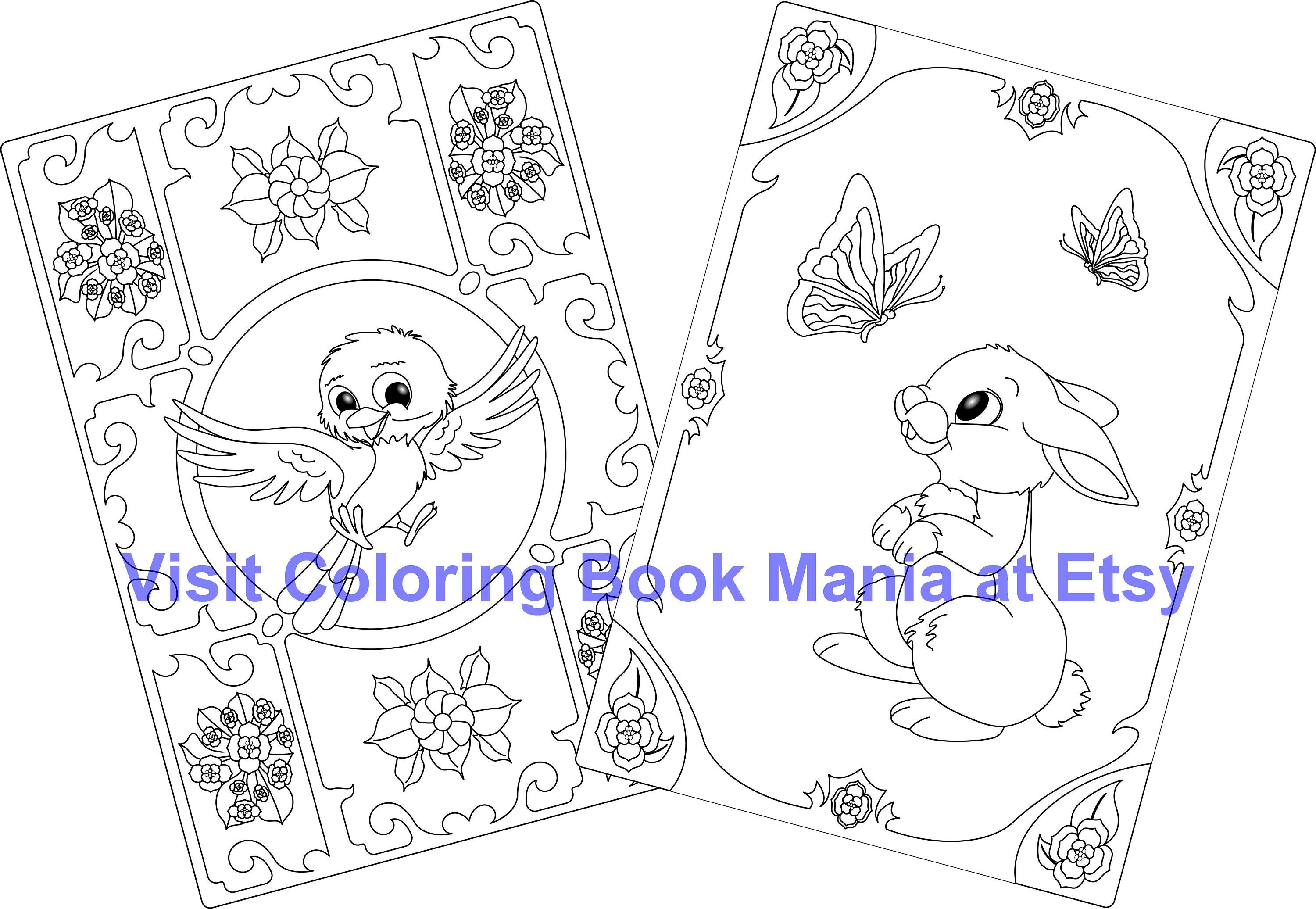 The coloring book of cards and envelopes flowers and butterflies - Celebrate Spring With 4 Note Cards To Color Happy Bird X2 And Rabbit With Butterflies X2 4 Cards Envelopes