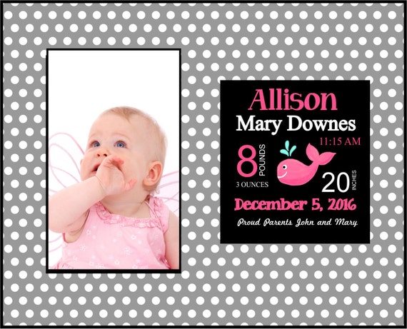 Baby announcement baby frame personalized baby gift new baby baby announcement baby frame personalized baby gift new baby gift new parent gift baby girl frame from theinspiredstudio on etsy studio negle Image collections