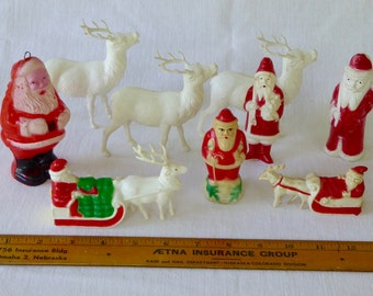 Vintage Grouping of Celluloid Figural Christmas Decorations