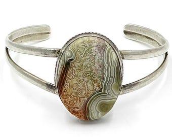 Sterling Crazy Lace Agate Cuff Bracelet