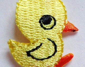 Embroidered Iron-On Applique Duckie, 7/8 x 1 inch