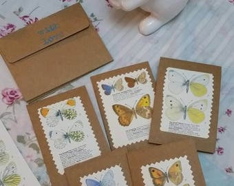 Beautiful butterfly mini notecards  (set of 5)