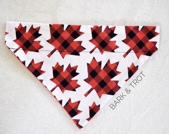 Canada Day Plaid Maple Leaves Dog Bandana